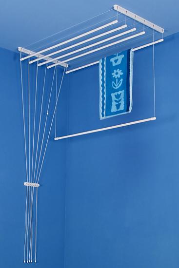 Obrázek z ALDOTRADE Stropní sušák na prádlo Ideal 6 tyčí 130 cm - Bílá